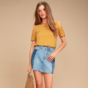 Lisa Marie Mustard Yellow Embroidered Top